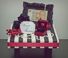 Black & White Stripes w/ Red gift tray I Perhaps I'll change the the color scheme to fit my wedding theme