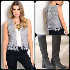 In Style Gray vest This cute vest features gold bead accents. Last one available 35% Cotton, 65% Polyester Perfect with jeans! ( This closet does not trade or use PayPal ) U Style Jackets & Coats Vests