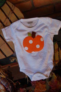 Fall Pumpkin Applique Onesie by WhiteKottage on Etsy, $8.00