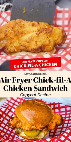 This Air Fryer Chicken Sandwich (Chick-fil-A Copycat) recipe is the best homemade meal the whole family will love! The chicken is brined in pickle juice and buttermilk, which produces tender and juicy chicken with a crispy breading. Add in cayenne pepper and fresh veggies for the spicy deluxe!
