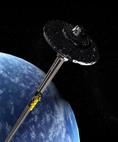 Is our time in outer-space finally at hand? How feasible is a space elevator? Space Station, Deep Space, Space Travel, Space Exploration, Sci Fi Art, Spacecraft, Science And Technology, Futuristic Technology, Outer Space