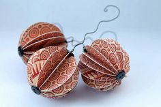 Red Handmade Christmas Ornaments by TheCuckoosBoutique on Etsy, $12.50