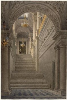 The vestibule staircase of the Tuileries Palace, depicted in 1830-1835.