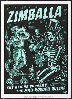 vince ray, art, voodoo queen, voodoo, skeleton, green, skulls, voodoo doll