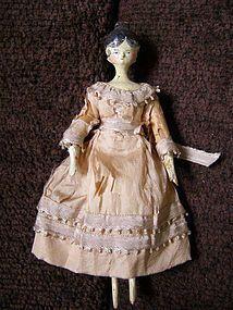 "Early Grodnertal Tuck Comb Wooden Doll 6.5"" SOLD #dollshopsunited"