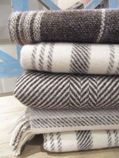 pure jacob wool blankets made in Scotland, link does not work but idea for gray bedroom linens?