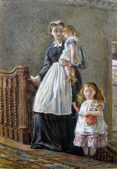 George Goodwin Kilburne, Governess with two girls - 1873