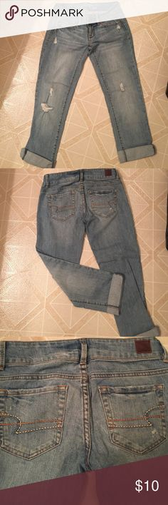 American Eagle 0 regular denim destroyed capris American Eagle denim destroyed capris, excellent condition! Only worn one time note: words American Eagle have a black mark through them see photo 4 American Eagle Outfitters Pants Capris