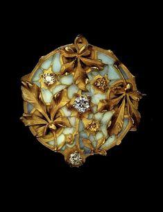 Lucien Gautrait | Brooch - Gold, Diamond, enamel.