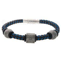 Mens Jewelry by AAGAARD Black Blue Braided Bracelet / Link Set - 38 $162.00
