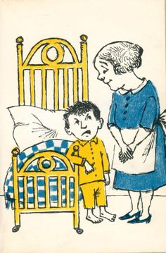 "Pierre, A Cautionary Tale in Five Chapters and a Prologue by Maurice Sendak One day his mother said when Pierre climbed out of bed, ""Good morning, darling boy, you are my only joy."" Pierre said, ""I don't care!"" [pg. 10-11]"
