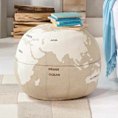 Globe pouf for kids room