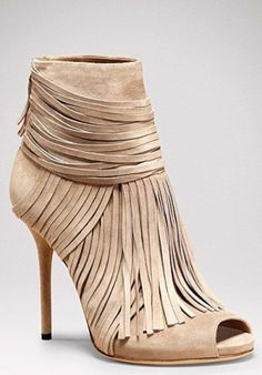 Beautiful fringe nude heels