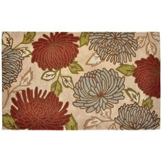 Shop Allen + Roth 60 Inches X 96 Inches Rectangular Cream/Beige/Almond  Floral
