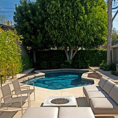Landscaping in a small space with a pool