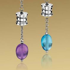 86fed6cc7f0a6 Bvlgari pendant earrings in white gold with amethyst and blue topaz.