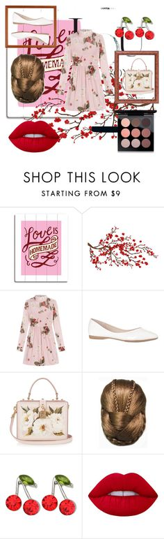 """Cherry pie"" by yasqueeeeen ❤ liked on Polyvore featuring Brewster Home Fashions, RED Valentino, Dolce&Gabbana, Kate Marie, Lime Crime and MAC Cosmetics"