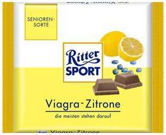 Ritter Sport mit Viagra. Der Geschmack wird von der Zitrone überlagert!