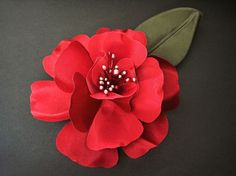 Red Magnolia Bridal Hair Accessory Wedding Flower Maid of Honor Gift
