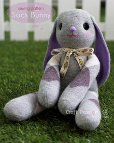 Sewing Pattern: DIY sock bunny. The long bunny ears are so cute! Great addition to a kid's birthday present! || #sew #socks #craft