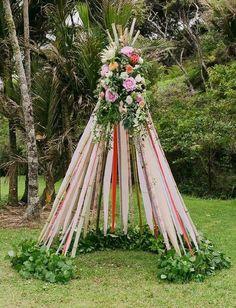 Colorful New Zealand Camp Wedding: Amber-Rose + Shane - Green Wedding Shoes ribbon flower teepee Wedding Ceremony Ideas, Teepee Wedding Ideas, Tipi Wedding, Camp Wedding, Marquee Wedding, Ceremony Decorations, Wedding Flowers, Wedding Day, Wedding Arches