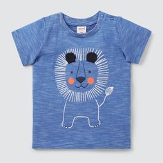 Lion Tee BRIGHT COBALT Baby Shirts, Boys T Shirts, Cute Baby Boy, Cute Babies, Baby Boy Outfits, Kids Outfits, Fabric Paint Shirt, Baby Shower Labels, Kids Graphics