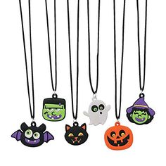 Halloween Rubber Character Necklaces (set of witches, jack o lanterns, black cats, bats, ghosts and monsters Kawaii Halloween, Halloween Icons, Halloween Prints, What's Halloween, Halloween Accessories, Halloween Jewelry, Halloween Silhouettes, Fun Express, Halloween Party Favors
