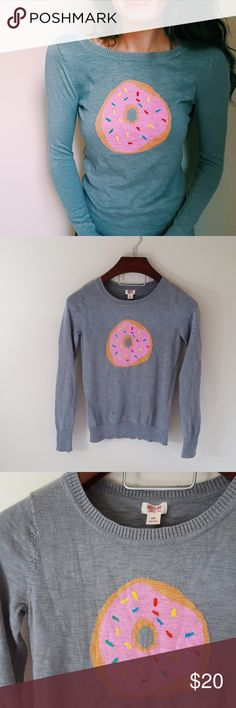 Donut and sprinkles gray sweater | small In excellent condition! Cute gray sweater with donut Logo! Size small. Used item- inspected for quality. Any wear or use is shown in pictures. Bundle up! Offers always welcome:) Mossimo Supply Co Sweaters