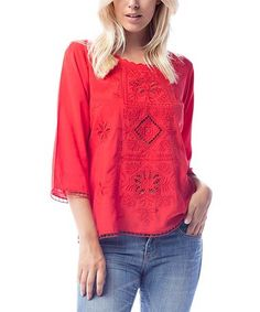 Love this Red Embroidered Three-Quarter Sleeve Top on #zulily! #zulilyfinds