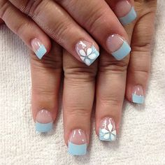 Make an original manicure for Valentine's Day - My Nails Blue Nail Designs, French Nail Designs, Nail Designs Spring, French Nail Art, French Tip Nails, May Nails, Hair And Nails, Spring Nails, Summer Nails