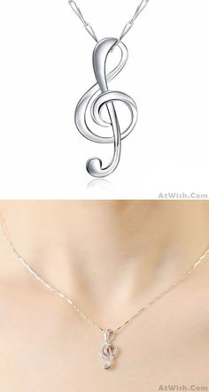 So cute music note earring!Unique Pure Sterling Silver Polishing Music Note Pendant Necklace #earring #music #cute