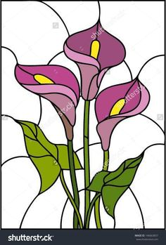 Pink flowers bouquet - Calla lily, vector illustration in stained glass window - stock vector