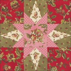 Barbara Brackman's MATERIAL CULTURE: Ladies' Album fabric block by Becky Brown Block 3: New Garden Star for Threads of Memory.