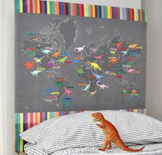 DIY Dino Map Headboard