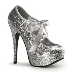 Bordello TEEZE-10G Silver Glitter Pumps