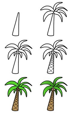 to draw palm trees A nice cartoon palm tree can easily be drawn using these six amazing steps! :)A nice cartoon palm tree can easily be drawn using these six amazing steps! Cute Easy Drawings, Art Drawings For Kids, Doodle Drawings, Drawing For Kids, Cartoon Drawings, Art For Kids, Learn Drawing, Drawing Step, Funny Drawings