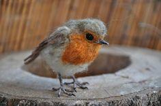 Robin Handmade Bird Needle Felted Bird Bird Sculpture