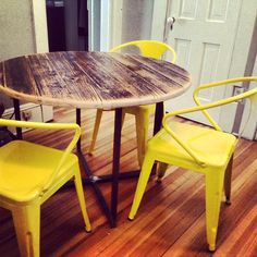 Crossover Table , reclaimed wood top with tube steel base. rustic modern industrial reclaimed