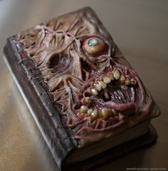 Morgans Mutations: The Beautifully Macabre Art by Morgan Loebel Halloween Spell Book, Halloween Spells, Halloween Crafts, Polymer Clay Sculptures, Polymer Clay Creations, Book Crafts, Clay Crafts, Magick Book, Altered Book Art