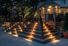 Decoration, Luxurious Exterior Of Lavish Home Designs Complete With Modern Staircase And Artistic Hand Rail Plus Landscape Lighting That Bea...