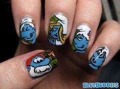 smurf nail art