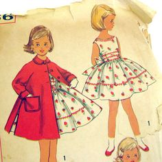 1950s Girls Vintage Dress Pattern  Sleeveless by SelvedgeShop