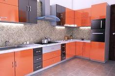 Interior Design Project - Kitchen on Behance Kitchen Cupboard Colours, Kitchen Cabinets Color Combination, Kitchen Cupboard Designs, Orange Kitchen Designs, L Shaped Kitchen Designs, Morden Kitchen Design, Kitchen Room Design, Interior Design Kitchen, Kitchen Layout Plans
