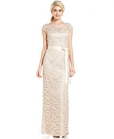 798edde8894 Adrianna Papell Cap-Sleeve Illusion Lace Gown   Reviews - Dresses - Women -  Macy s
