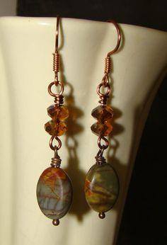 L@@K at these! Priced for gift giving and gorgeous! Handmade and wire wrapped Jasper and Crystal Dangle Earrings by Sewartzee, $12.00
