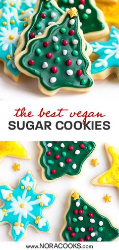 vegan christmas cookies Weihnachtspltzchen The Best Vegan Sugar Cookies - Nora Cooks Vegan Treats, Vegan Foods, Vegan Dessert Recipes, Whole Food Recipes, Cookie Recipes, Easter Cookies, Summer Cookies, Baby Cookies, Heart Cookies