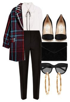 """Untitled #5159"" by olivia-mr ❤ liked on Polyvore featuring Miu Miu, Jaeger, H&M, Manolo Blahnik, Rebecca Minkoff, Le Specs and Gucci"