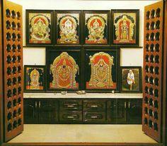 Trendy Home Furniture Logo Design Kitchen Wall Storage, Kitchen Wall Art, Temple Design For Home, Mandir Design, Diy Cupboards, Cabinets, Pooja Mandir, Pooja Room Door Design, Puja Room