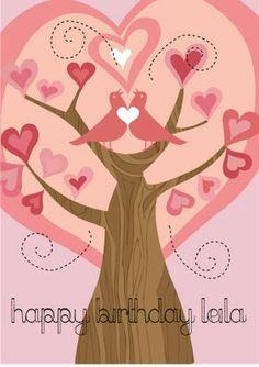 love birds in tree by Valentina Ramos: January 2009 Pink Birthday, Birthday Cards, Water Drops, Love Birds, Still Life, Orchids, Aurora Sleeping Beauty, Etsy Seller, Card Making