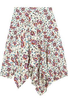 Isabel Marant - Rachel Asymmetric Floral-print Silk Skirt - Ecru - FR44